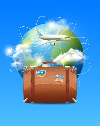 world travel concepts: globe, telecom, suitcase, and jet